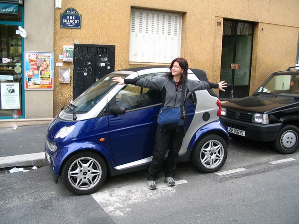 Erika and the beloved Smart Car.jpg