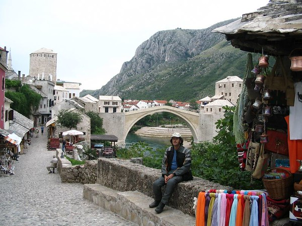 Bridge Stari Most and Tired Motorcyclist.jpg