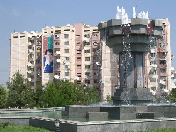 Turkmenbashi on the apartment building.jpg