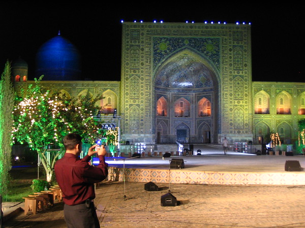 Samarkand Registan at night